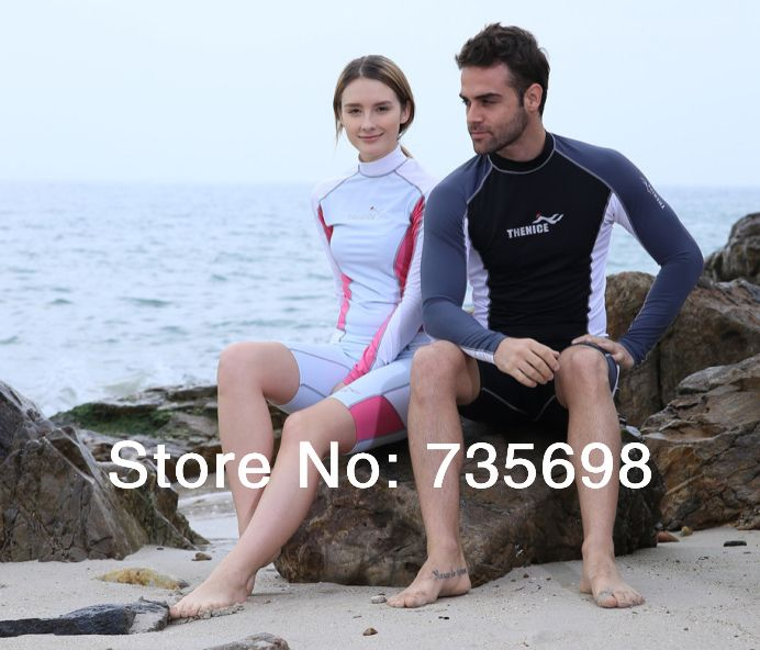 New 2014 his-and-hers upf 50+ rash guard Lovers' wetsuit for diving swimwear men and women rashguard snorkeling windsurfing suit