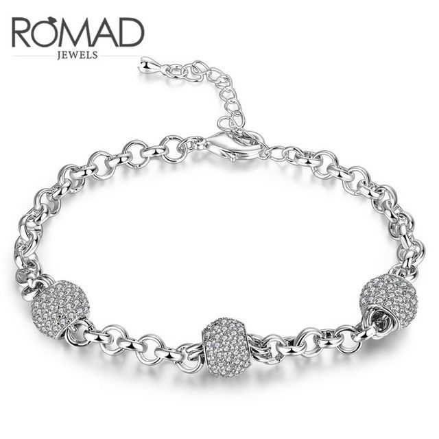 2017 Romad Charms Beads Cute Bracelets Sliver Color Wedding Punk Fashion Jewellery Romantic Mother's Gift