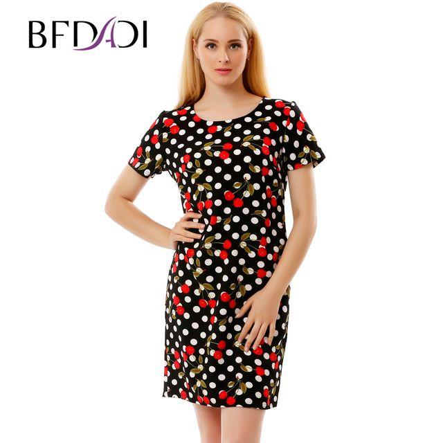 BFDADI 2017 Summer Casual Dresses For Women Ladies Cute dots and cherry pattern Short Sleeve Straight Short Dress 2837-9