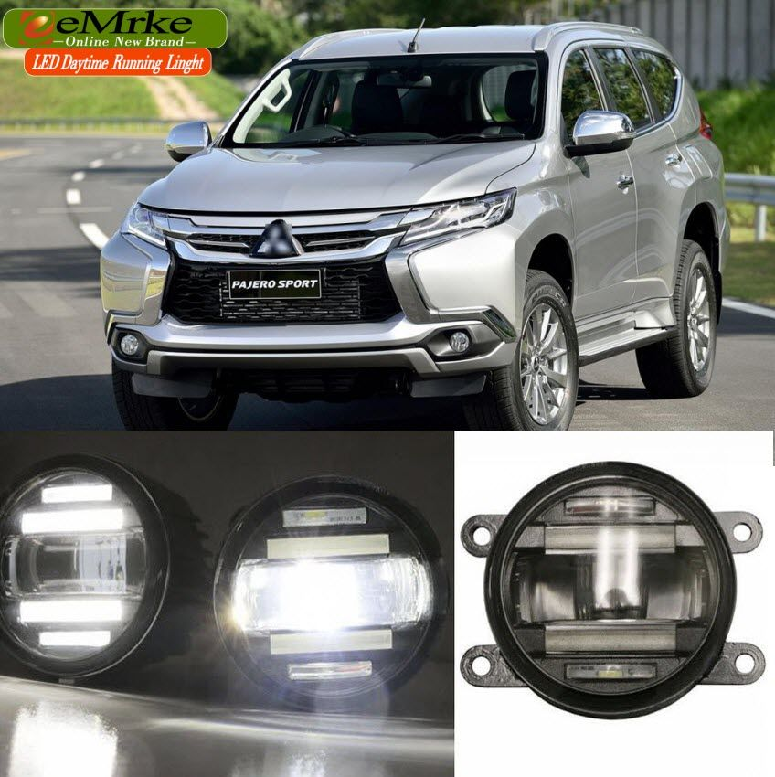 eeMrke Car Styling For Mitsubishi Pajero Sport 2016 2 in 1 LED Fog Light Lamp DRL With Lens Daytime Running Lights