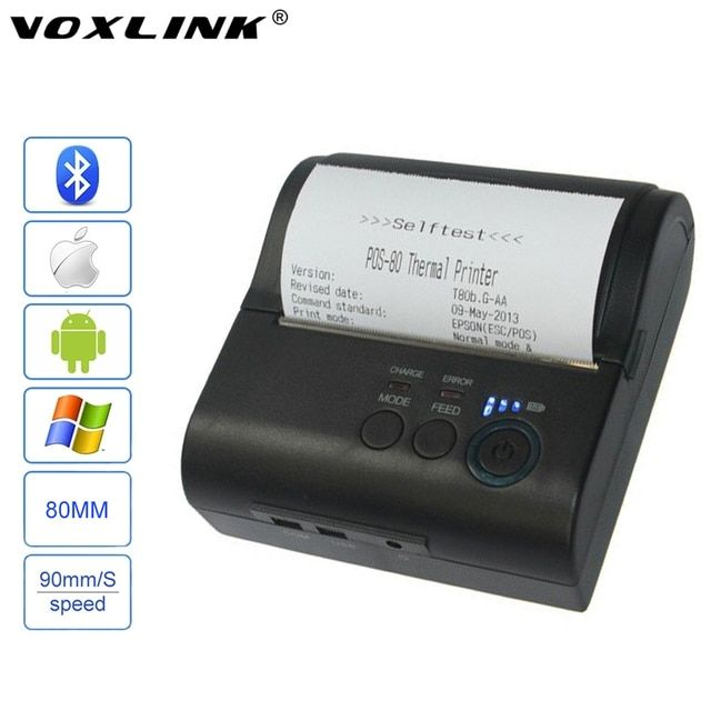 VOXLINK 80mm Mobile Portable Bluetooth 4.0 Wireless POS Receipt Thermal Printer RS232/USB Ports For IOS Android Windows Printer