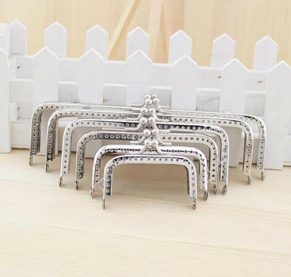 Silver Square Coins Purse Frames Metal Kiss Clasp Bags Making Supplies DIY 6.5 8.5 10 12 15 18CM Complete specifications 6pcs