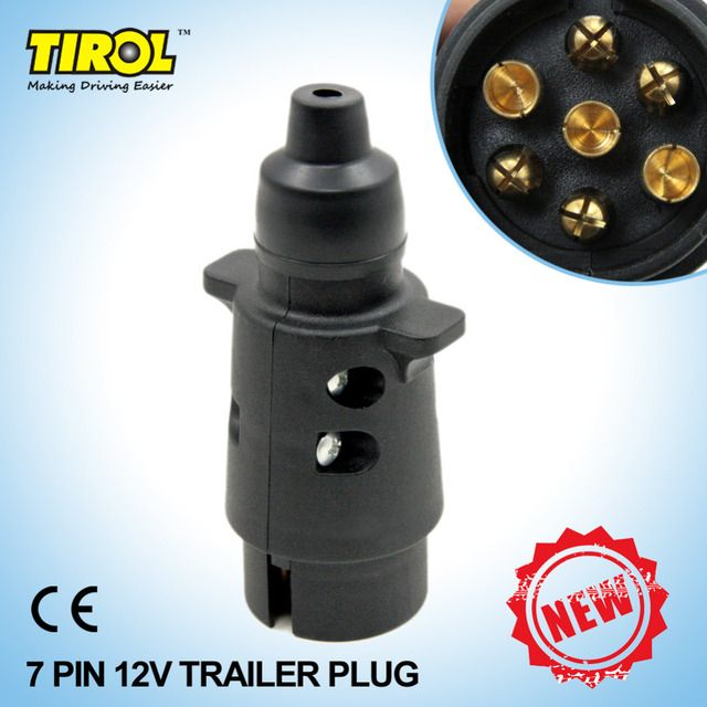 TIROL 7-Pin Trailer Plug Black frosted materials 7-Pole Trailer Wiring Connector 12V Towbar Towing Plug T22777a Free Shipping