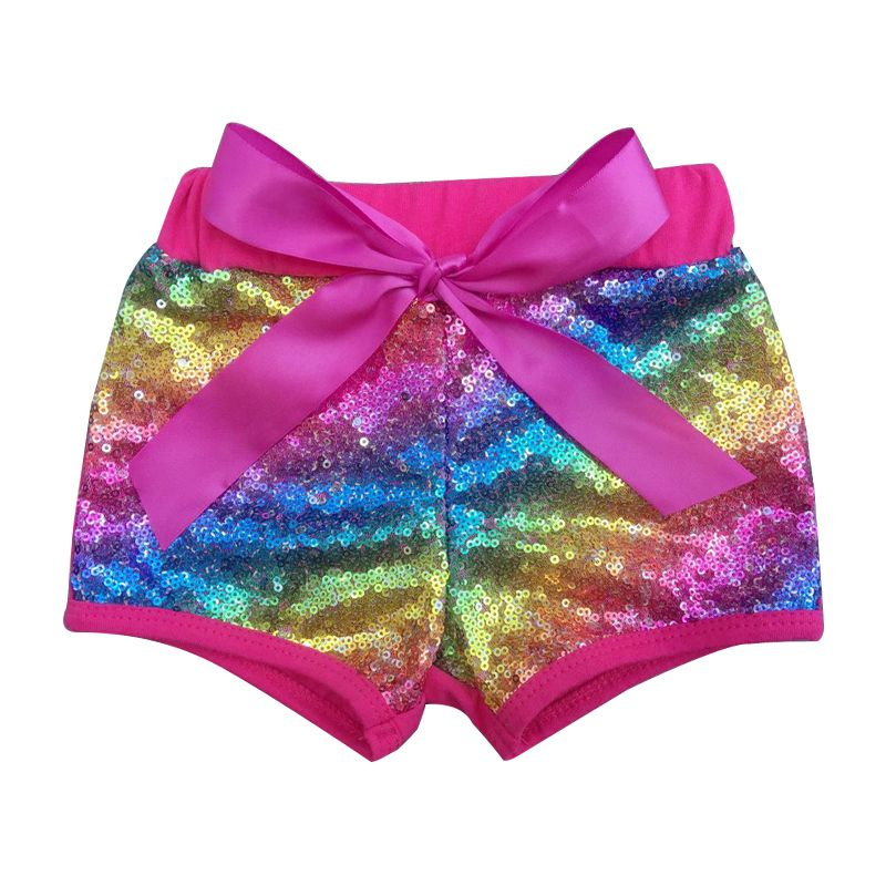 Rainbow Rose Sequin Girls Shorts Birthday Party Outfit Gold Sparkle Kids Shorts Glittery Sequin Cotton Toddler Baby Girl Clothes