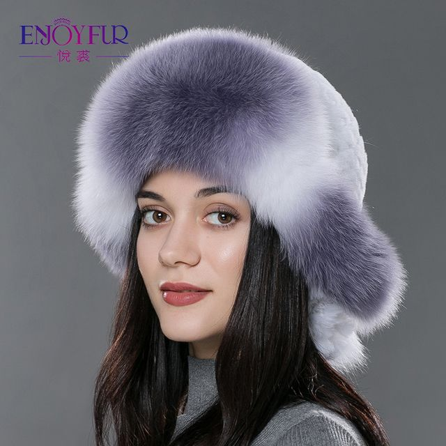 Women's fur bomer hat for winter natural rex rabbit fox fur caps thick warm winter fur hat Russian style fur headwear