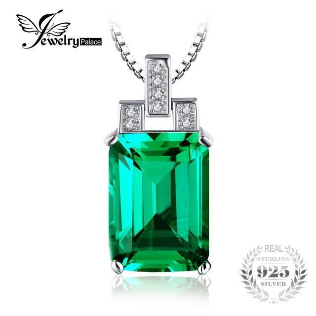 JewelryPalace 5.92ct Emerald Necklace High Quality Jewelry Solid 925 Sterling Silver Necklaces  45cm Women Wedding Jewelry
