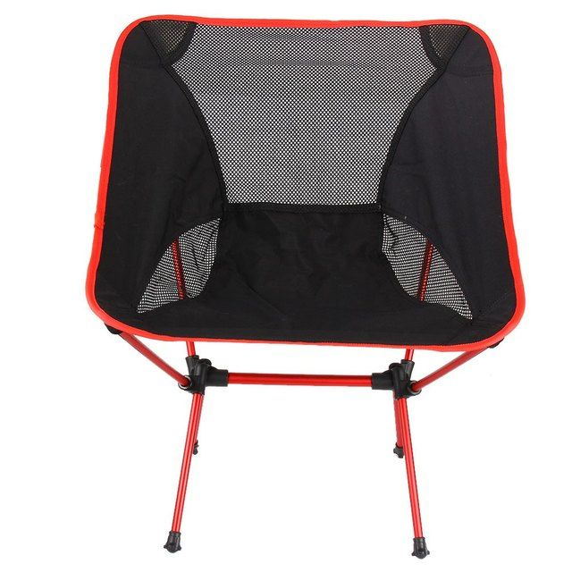 Portable Folding Chair Beach Seat Lightweight Seat For Hiking Fishing Picnic Barbecue For Vocation Casual Camping Fishing Red