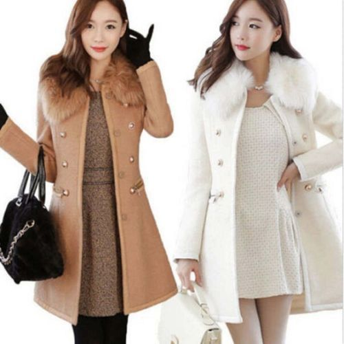 2016 Fashion Women Double-Breasted Slim Wool Faux Fur Trench Coat Parka Winter Jacket
