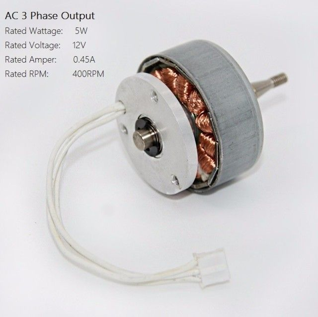 AC 3 Phase Permanent Magnet Generator 12V 0.45A Alternator Educational Wind Turbine Science KIT, Come with Rectifier