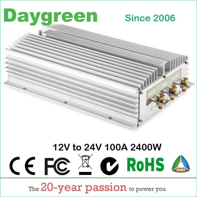 12V TO 24V 100A STEP UP DC DC CONVERTER 100 AMP 2400Watt H100-12-24 Daygreen CE RoHS Certificated