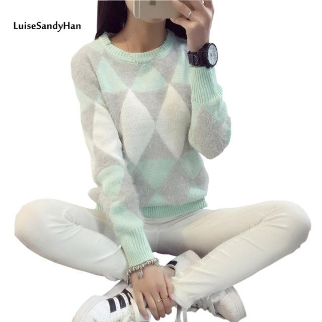 Women Pullover Warm Sweaters 2016 Fashion Casual Knitted O-Neck Long Sleeve Plaid Slim OL Lady Brand