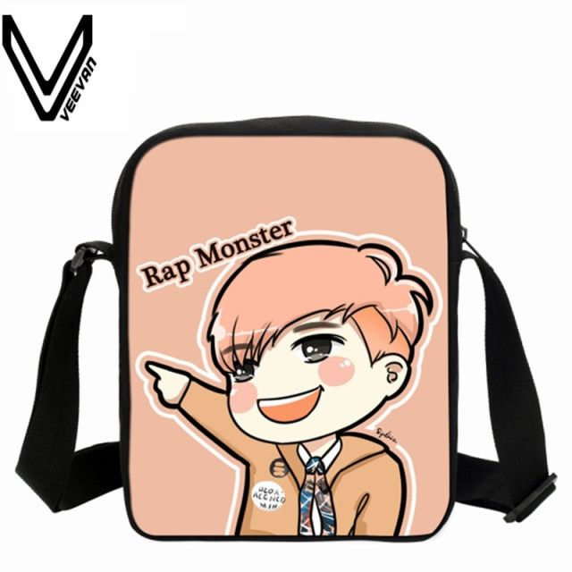 VEEVANV BTS Bangtan Boys Cartoon Printing Messenger Bags Crossbody Bags SUGA Rap Monster JIN J-HOPE JUNG KOOK Shoulder Bag Girls