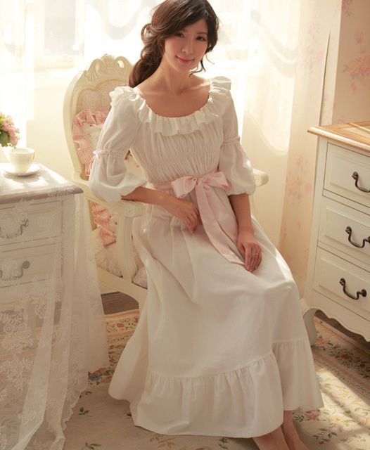 Free Shipping 100% Cotton Princess Nightdress Royal Pijamas Long White Nightgown Women's Sleepwear Ladies pijamas femininos