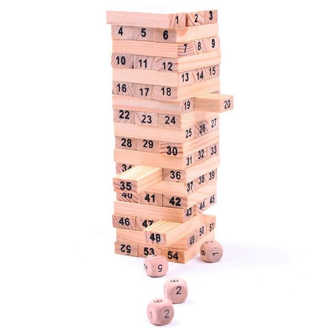 Mini Tumbling Stacking Tower Digital Wooden Puzzles Toys Building Kids Family Party Board Games For Children SL900070