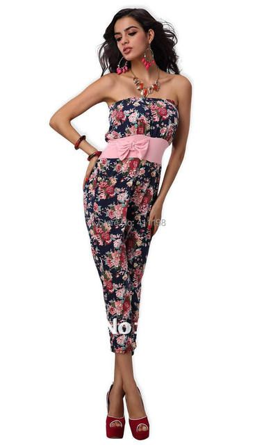 aolover shipping 2013 summer  women tiny flower Off Shoulder BOW romper 1458 MULTI LADY  Jumpsuits pink   3 COLORS OVERALL