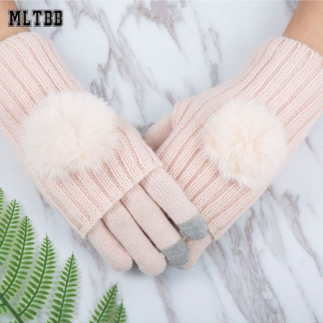 MLTBB 2018 Winter Gloves For Women Fur Ball Two Piece Touch Screen Mitten Fashion Warm Half Finger Gloves Female Mittens