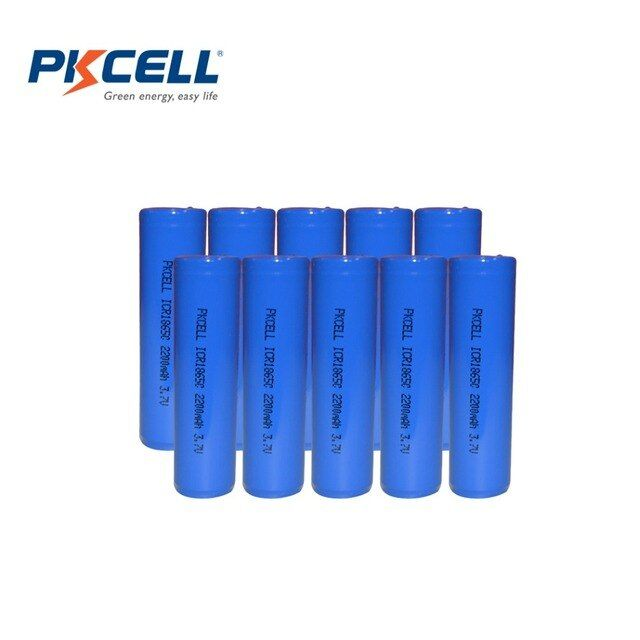 10pcs/lot PKCELL 100% New Original ICR18650 3.7V 2200mah 18650 Lithium Rechargeable Battery For Flashlights Torch