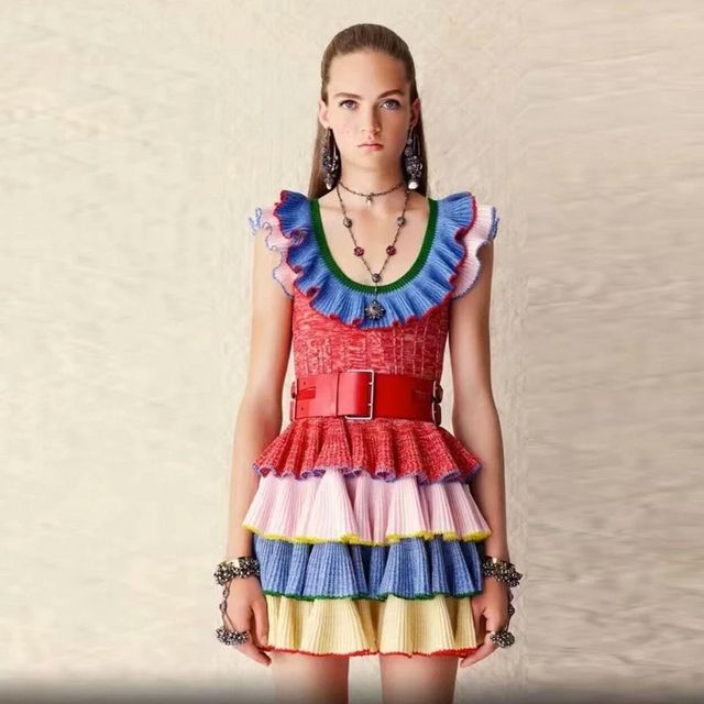 Ecombird 2017 Spring Summer Runway Designer Knitted Dress Fashion Women butterfly Sleeve Rainbow Striped Ruffles Mini Dresses