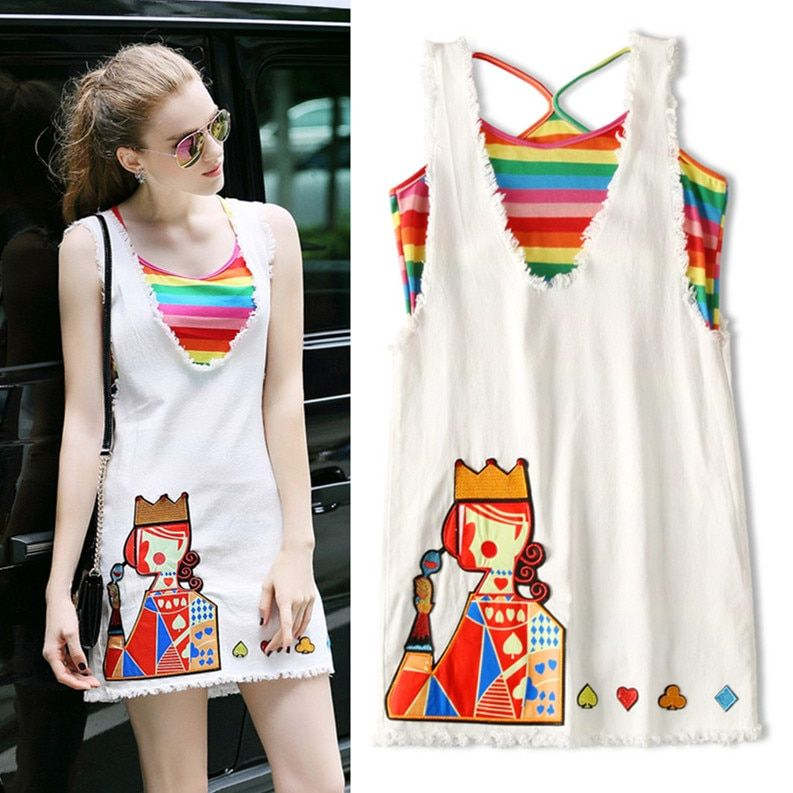 New Summer Women Denim Clothing Set Stripped Rainbow Colorful Tank Twinsets Embroidery Cards Dress White Ladies Casual Set NS418