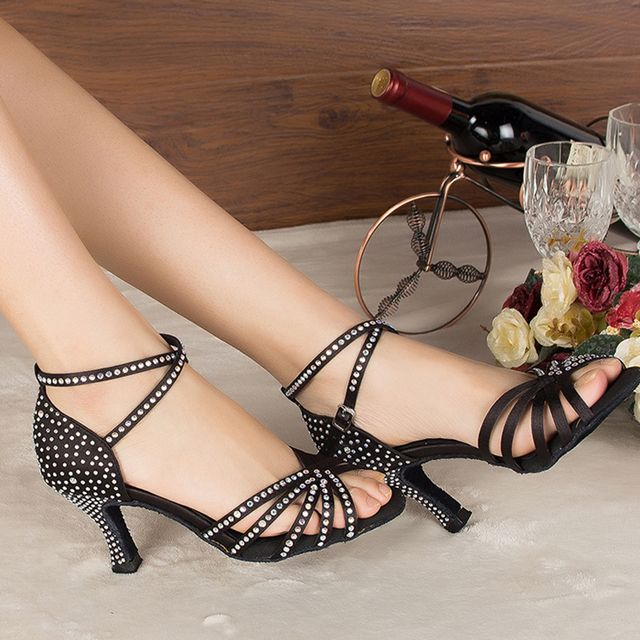 ZEKAEN 2016 Brand Bronze Black Satin Latin Women's Rhinestone companionship shoes Salsa Party Ballroom dancing shoes 7CM