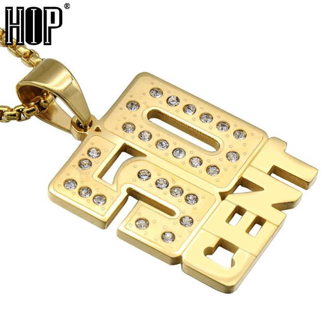 HIP Hop Micro Pave Full Rhinestone Titanium Stainless Steel Iced Out 50 CENT Pendants Necklaces For Men Jewelry