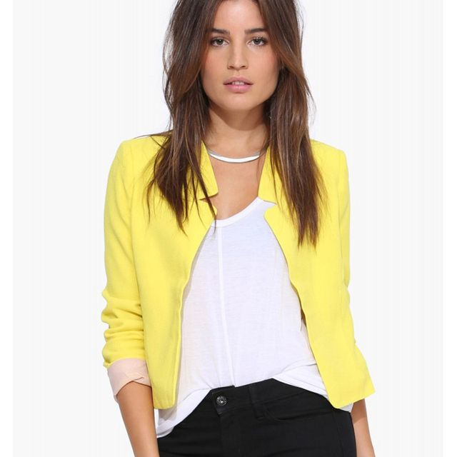 Blazers Women 2016 Autumn Casual Women's Blazer Candy Color Cardigan Notched Collar Fashion Ladies Jacket Coat Blazer Feminino