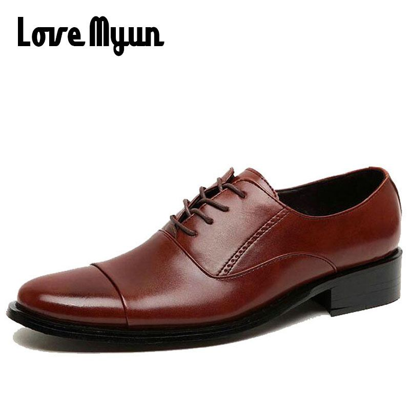 Working Office shoes mens genuine leather shoes white dress shoes business wedding shoes lace up flats big size 37-47 AB-04