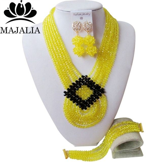 2017 Fashion african beads jewelry set yellow Nigeria Wedding Crystal necklace Bridal Jewelry sets Free shipping VV-017