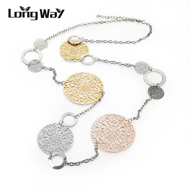 LongWay Vintage Long Statement Necklace Gold Color Silver Color Round Flower Women Necklaces & Pendants Jewelry 2019 SNE150001