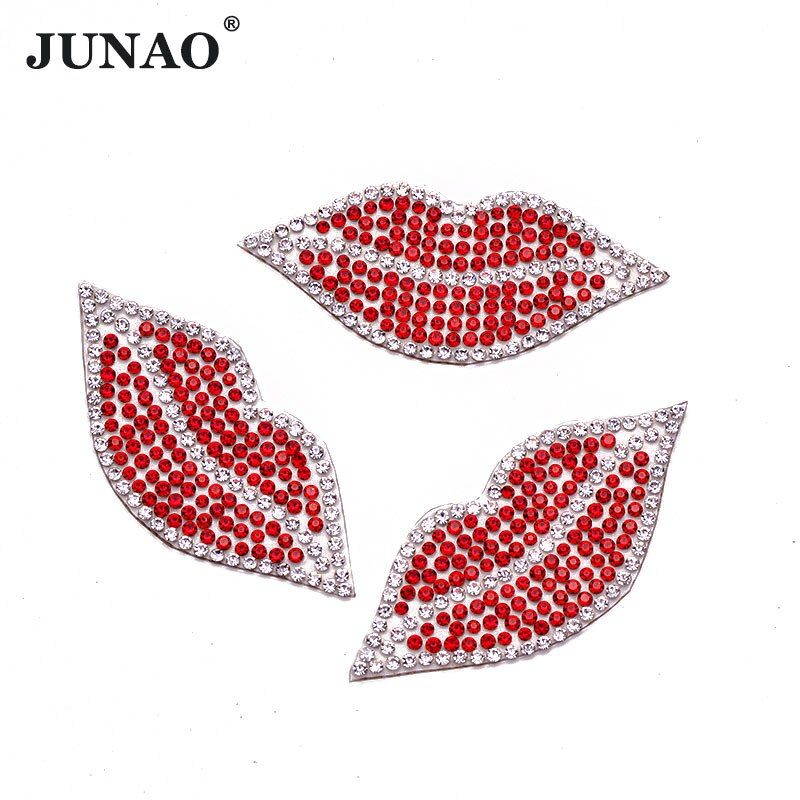 JUNAO 10pcs Red Lips Rhinestone Iron On Patches For Clothing Patch Appliques Hotfix Crystal Motifs For Clothes Crafts
