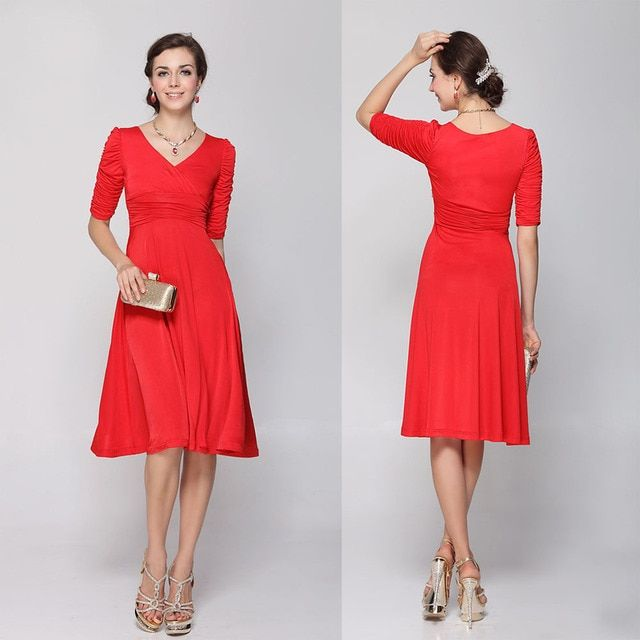 JLI MAY office elegant casual vintage half sleeve red black green evening party plus size women V-Neck fit and flare midi dress