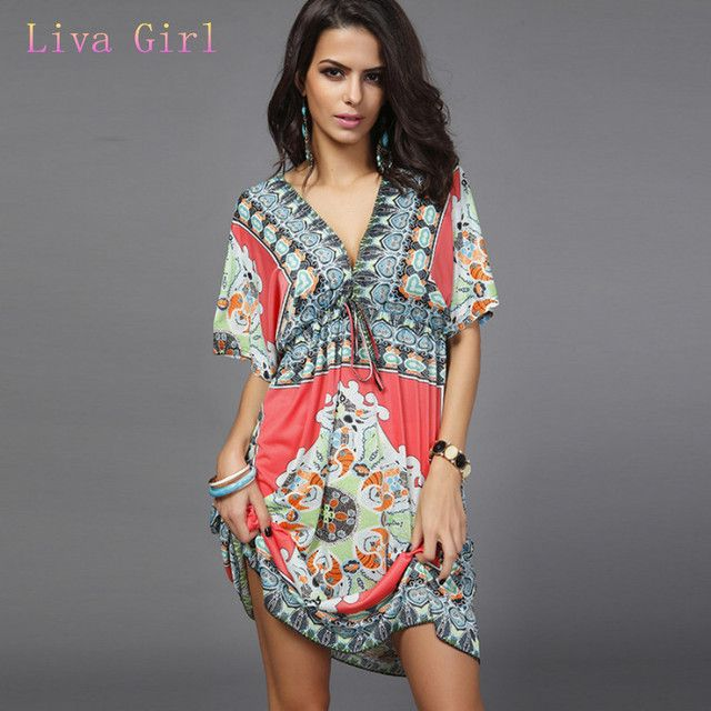 Liva girl Aliexpress fashion Hot style spring dress Hot hot style V-neck sexy milk silk dress Big dress code beach holiday