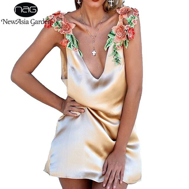 NewAsia Garden Plunge V Neck Low Back Faux Silk Satin Women Slip Dress Embroidery Floral Party Summer Dress Vestidos 2017 New