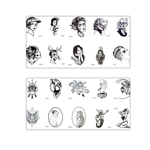 20 sheet Temporary Tattoo Sticker Little Vintage Old School Style Kitty Cat Head Women Skull Mask  Body Art Fake Taty