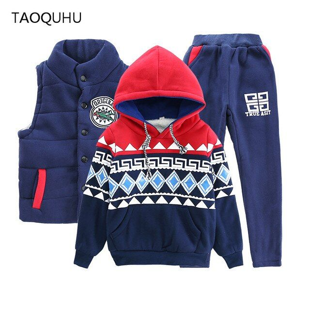 Winter Sets Children Casual 3 Pcs Suit Jackets Hoodies Pants Baby Set Boys Sport Outwear Clothing Sets Teenager Kids Clothes