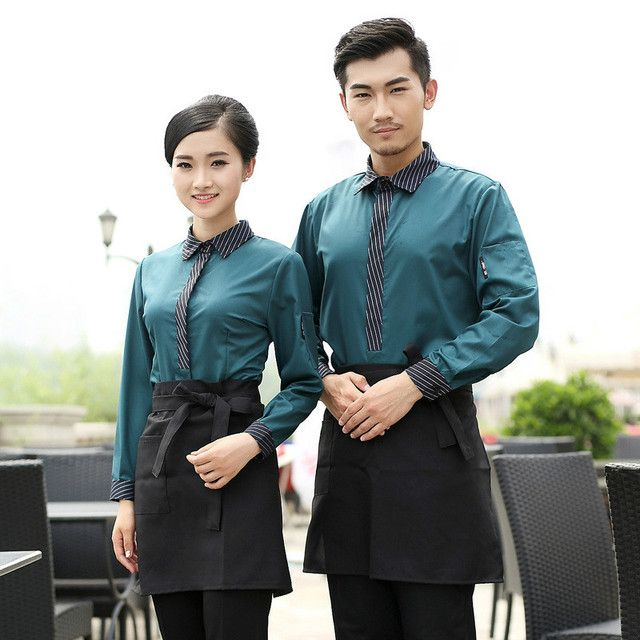 Hotel Restaurant Waiter Uniform  Full Sleeve Chef Jacket Restaurant Work Clothes for Man and Female