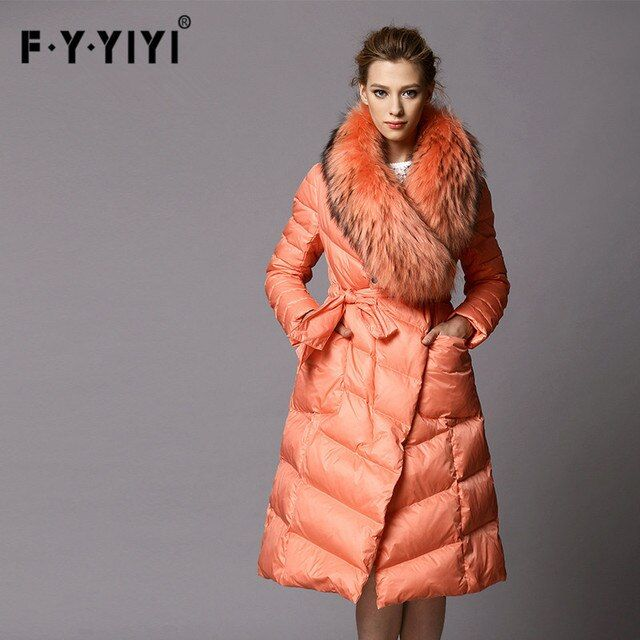 Winter Coat Women's New Luxury Big Raccoon Fur Collar Black Orange DOWN JACKET Long Jacket Parka Irregular S-XXL Free Shipping