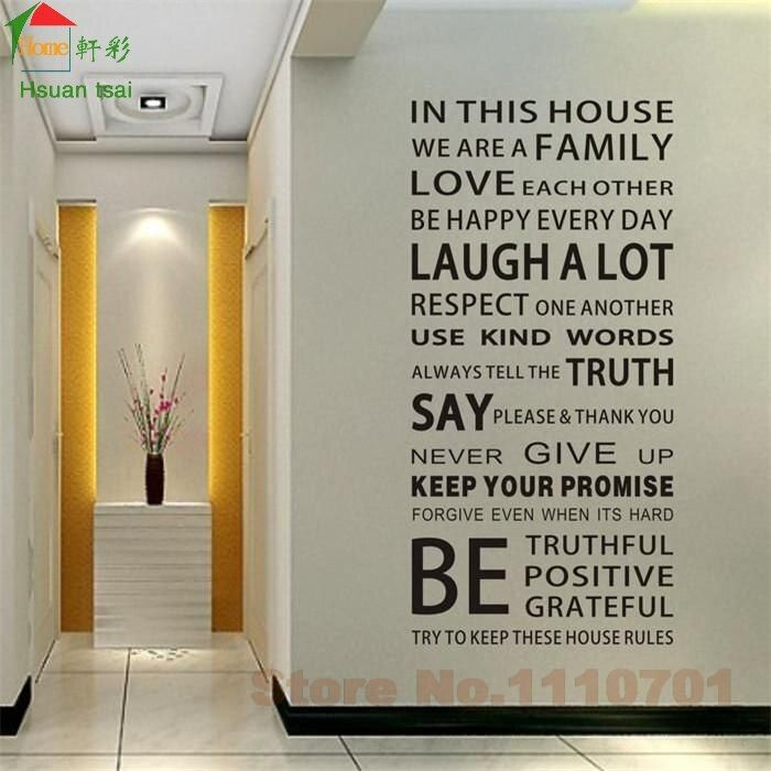 IN THIS HOUSE English DIY glass vinyl wall stickers home decor living room sofa wall decals home decoration wallpaper painting