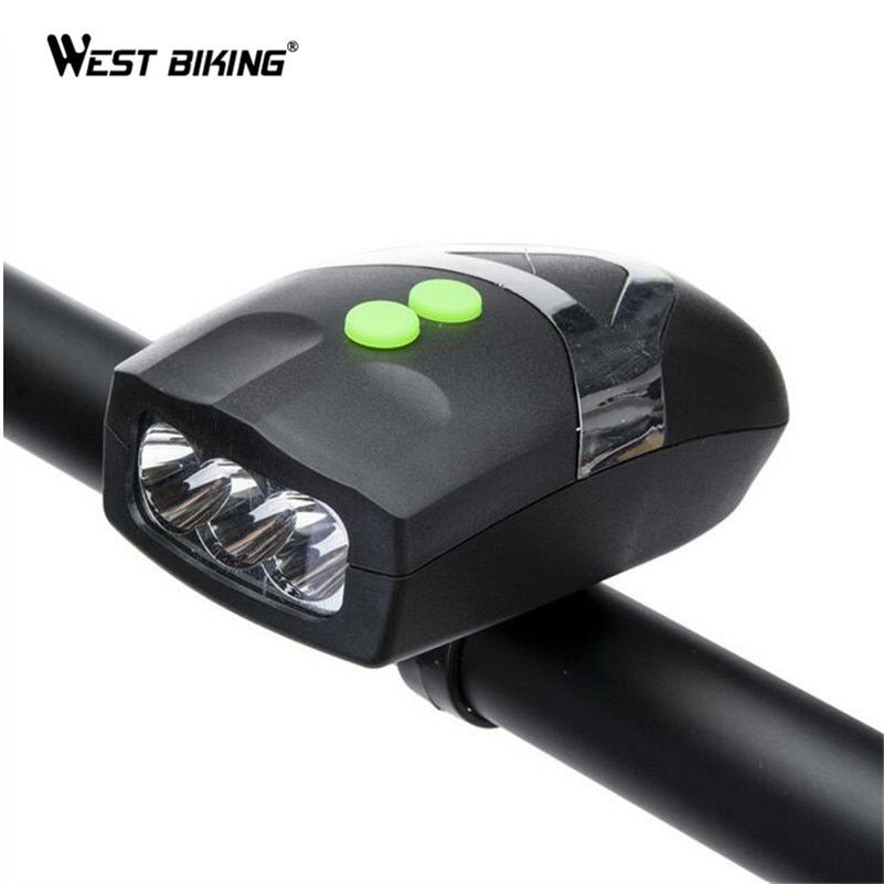 WEST BIKING Bike Light Head LED Flashlight With Bell Luces Bicicleta Bike Multifunction Lamp MTB Road Bike Cycling Bicycle Light