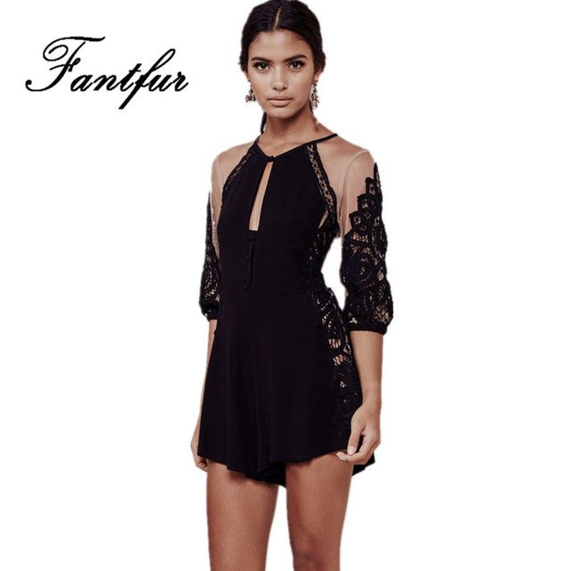 FANTFUR Luxury Runway Jumpsuit Women Lace Crochet Embroidery Patchwork Mesh High Waist Playsuit Black White Sexy Perspective
