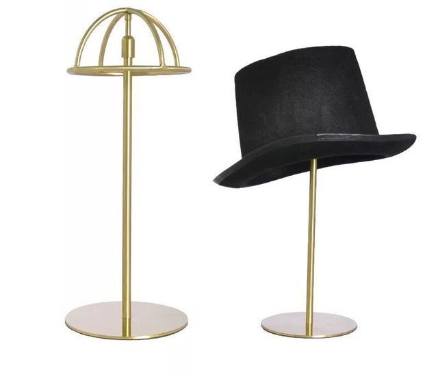 Titanium Gold Polish Adjustable Height Hat Display Stand Metal Hat Cap Display Rack Holder hat holder rack