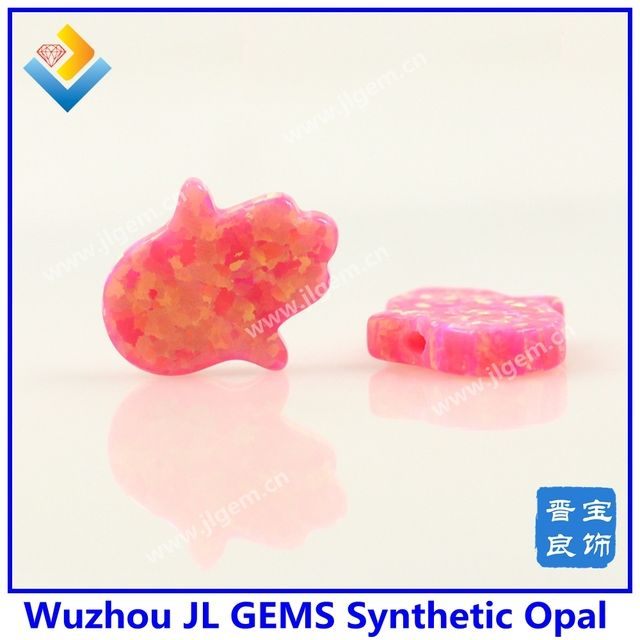(2pcs/lot)Free Shipping Aliexpress Hot Sale Fire Pink OP42 synthetic Opal 11x13mm Opal Hamsa pendant for jewelry making