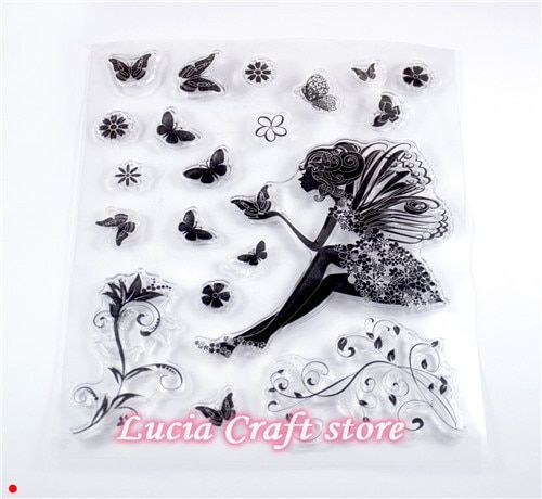 Lucia crafts 14*15cm Butterfly girl design transparent rubber stamp DIY Scrapbooking 1pc/lot A1016