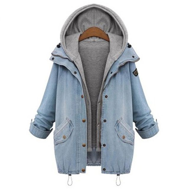 winter Women Blue Hooded Drawstring denim jacket outerwear loose trench vest twinset Outerwear Women Long Sleeve Buttons Coat