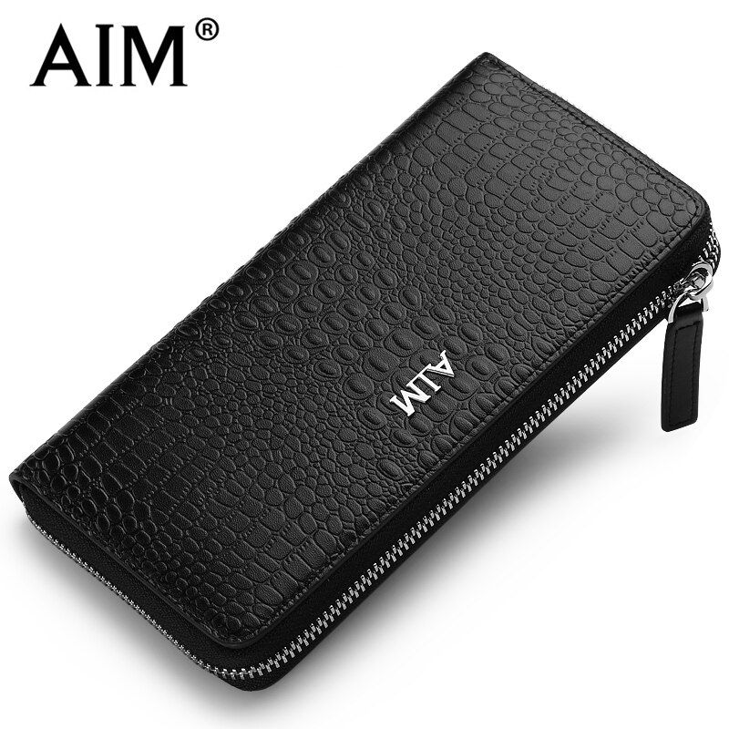 AIM Luxury Men's Business Leather Wallet Crocodile Pattern Vintage Long Zipper Purse for Men Coin Purse ID Cards Organizer C151