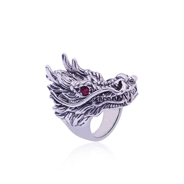 Punk Animal Ring Domineering Dragon Head Ring Inlaid Rhinestone Personality Red Eye Faucet Rings For Men Jewelry Drop Shipping