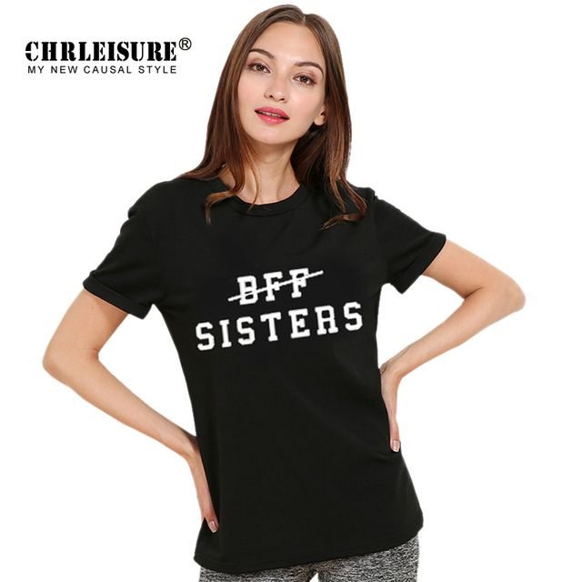 CHRLEISURE Women T Shirt BFF SISTERS Letters Print Short Sleeve Black Grey White Casual Summer Tops Tee T-shirts For Women