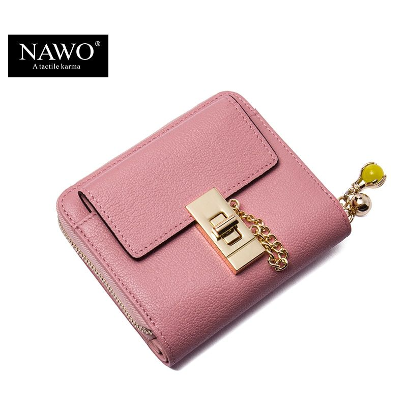 NAWO New Fashion Cow Real Genuine Leather Women Wallets Pink Luxury Brand Womens Small Wallet Ladies Short Coin Purse Gift