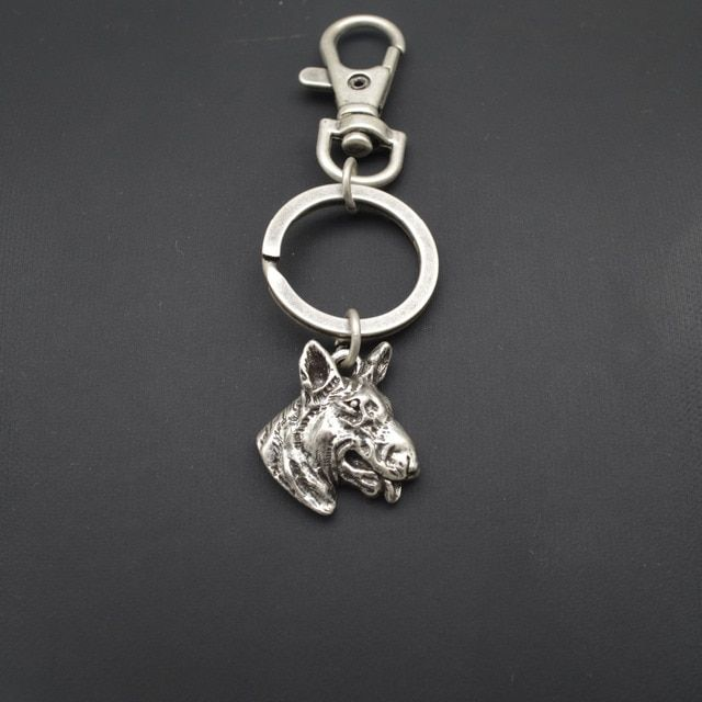 Wholesale animal Key chain cute Bull terrier Dog key chain Pet bulldog key ring antique silver bronze Plated
