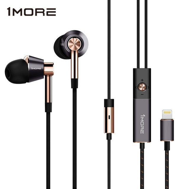 1MORE Triple Driver LTNG In-Ear Earphone for Phone HIFI Hybrid Earpiece Earbuds with Microphone and Remote for iOS iPhone E1001L